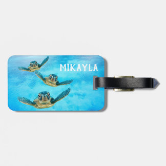 Three Baby Sea Turtles Swimming Luggage Tag