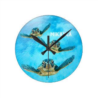 Three Baby Sea Turtles Swimming Round Clock