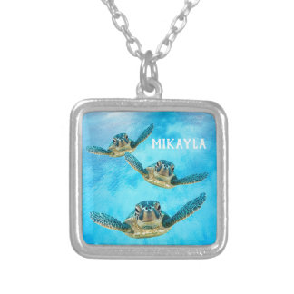 Three Baby Sea Turtles Swimming Silver Plated Necklace