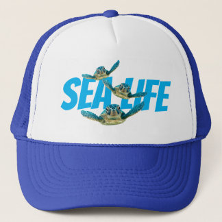Three Baby Sea Turtles Swimming Trucker Hat