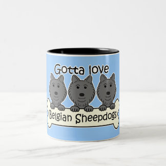 Three Belgian Sheepdogs Two-Tone Coffee Mug