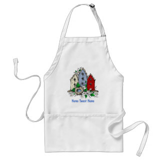 Three Birdhouses, a Nest and Flowers Standard Apron