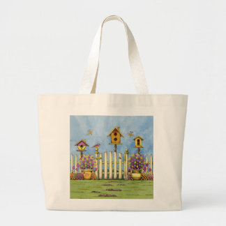 Three Birdhouses in a Garden Large Tote Bag