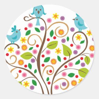 three birds classic round sticker