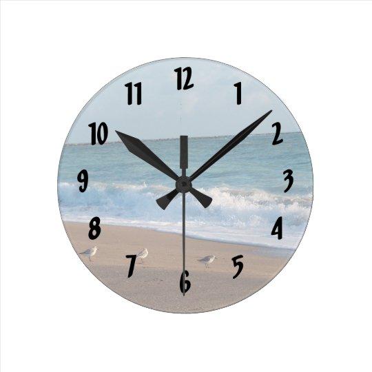 three birds on shore photo florida beach clock