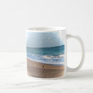 three birds on shore photo florida beach mug