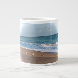 three birds on shore photo florida beach extra large mugs