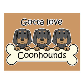 Three Black and Tan Coonhounds Postcard