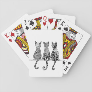 Three Black and White Cats on Playing Cards