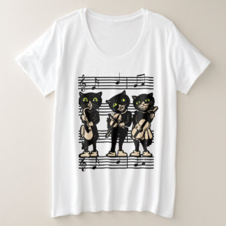 Three Black Cat Musicians Green eyes Music Notes Plus Size T-Shirt