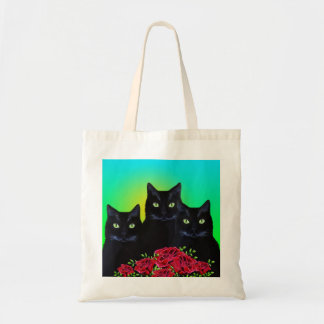 Three Black Cats and Red Roses Bag
