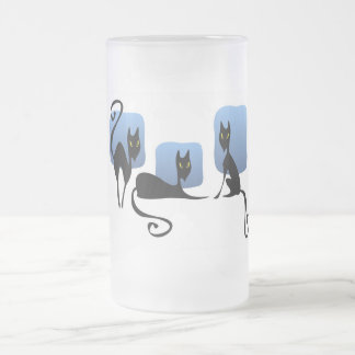 Three Black Cats Frosted Glass Frosted Glass Beer Mug