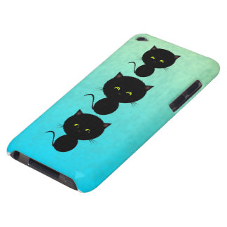Three Black Cats on Turquoise iPod Case-Mate Case