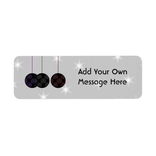 Three Black Christmas Baubles. Custom Text Return Address Label