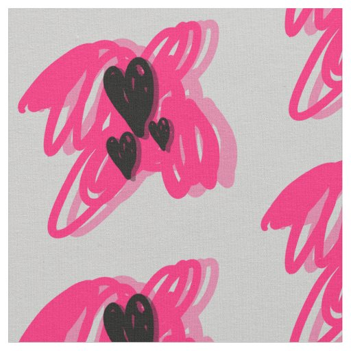 Three black hearts- pink abstract grey background fabric