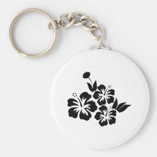 Three Black Hibiscus Tropical Flowers Basic Round Button Keychain