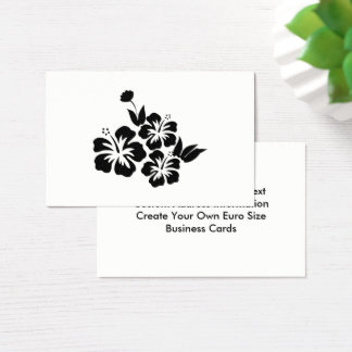 Three Black Hibiscus Tropical Flowers Business Card