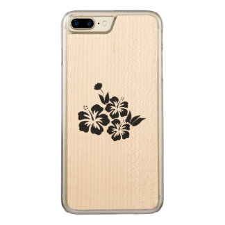 Three Black Hibiscus Tropical Flowers Carved iPhone 8 Plus/7 Plus Case