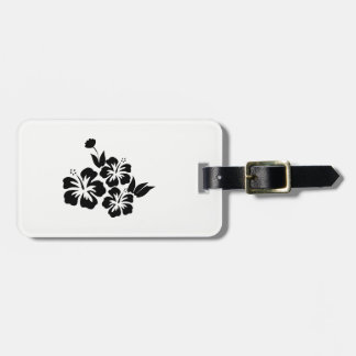 Three Black Hibiscus Tropical Flowers Luggage Tag