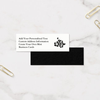 Three Black Hibiscus Tropical Flowers Mini Business Card