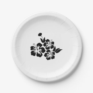 Three Black Hibiscus Tropical Flowers Paper Plate