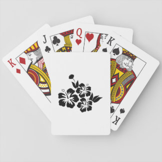 Three Black Hibiscus Tropical Flowers Poker Deck