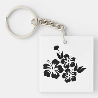 Three Black Hibiscus Tropical Flowers Single-Sided Square Acrylic Keychain