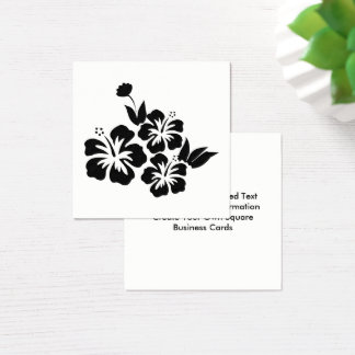 Three Black Hibiscus Tropical Flowers Square Business Card