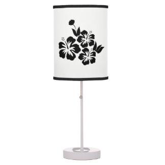 Three Black Hibiscus Tropical Flowers Table Lamp