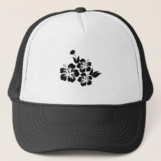 Three Black Hibiscus Tropical Flowers Trucker Hat