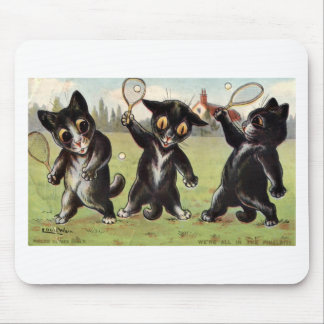 Three Black Tennis Cats Artwork by Louis Wain Mouse Pad