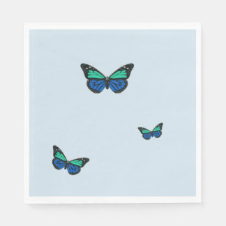 Three Blue Butterflies Paper Napkins