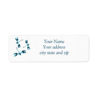 Three Blue Dragonflies Cute Return Address Label