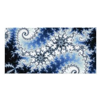Three Blue Stars - fractal design Photo Card Template