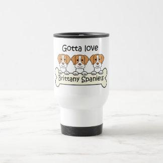 Three Brittany Spaniels 15 Oz Stainless Steel Travel Mug