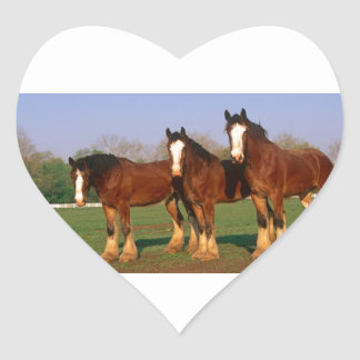 Three Brown Horses Heart Sticker