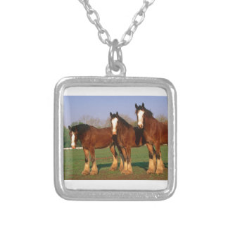 Three Brown Horses Silver Plated Necklace