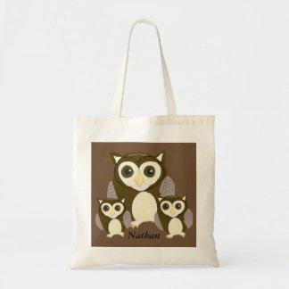 Three Brown Owls Personalised Tote Bag