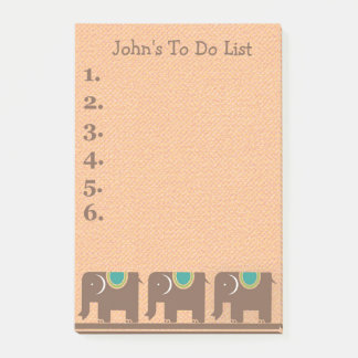 Three Brown Teal Elephants Personalized To Do List Post-it Notes