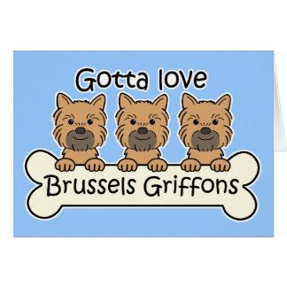 Three Brussels Griffons Card