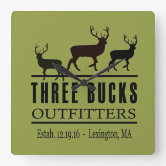 Three Bucks Outfitters Wall Clock