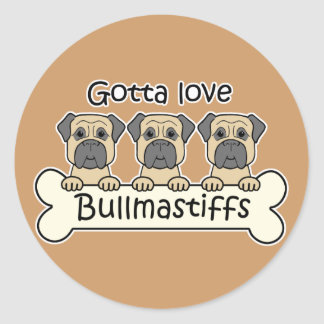 Three Bullmastiffs Round Sticker