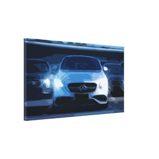 Three Business Cars XL Canvas, Minimalistic Style Canvas Print