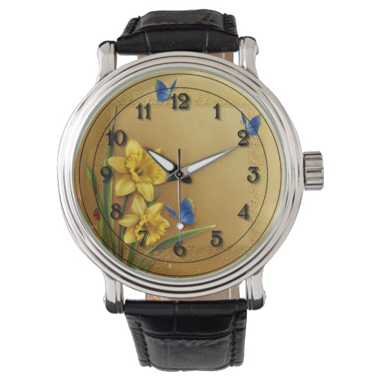Three Butterflies and Daffodils Wristwatch