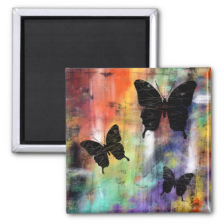 Three Butterflies Square Magnet