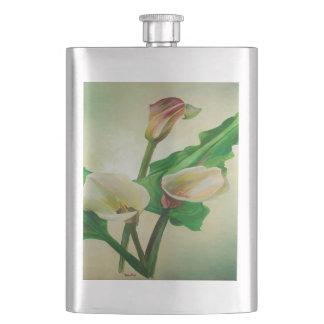 Three Calla Lilies Hip Flask