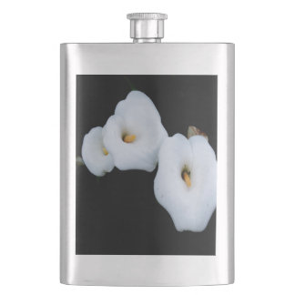 Three Calla Lilies Isolated On A Black Background Hip Flask