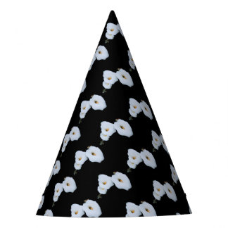 Three Calla Lilies Isolated On A Black Background Party Hat