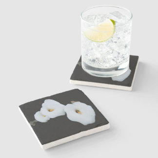 Three Calla Lilies Isolated On A Black Background Stone Coaster