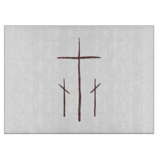 Three Calvary Christian Crosses Cutting Board